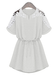 Round Neck  Decorative Lace  Plain Skater Dress