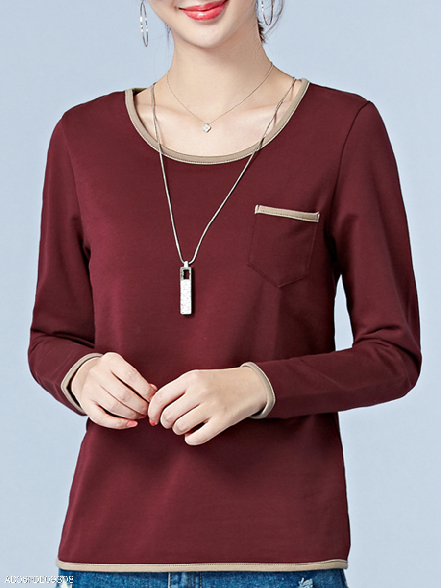Round Neck  Patchwork Long Sleeve T-Shirts