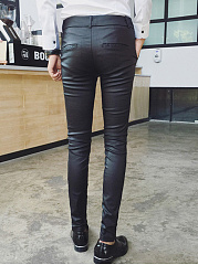 Black PU Leather Slim-Leg Men's Casual Pants