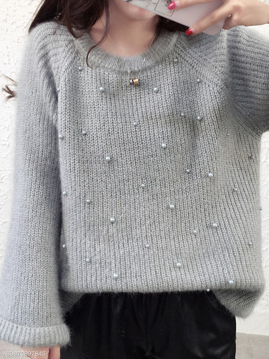 Round Neck  Beading  Plain  Bell Sleeve Knit Pullover