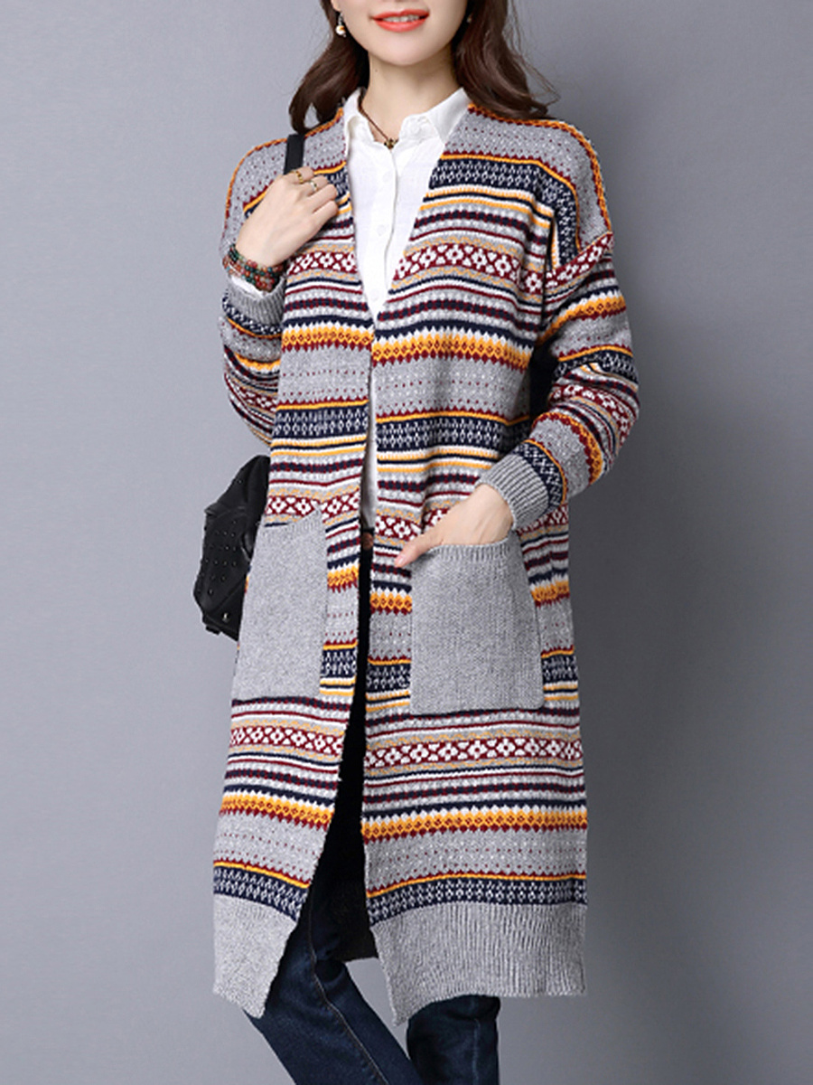 Patch Pocket Multi-Color Striped Printed Cardigan