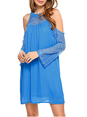 Open Shoulder  Lace Plain Date Shift Dress