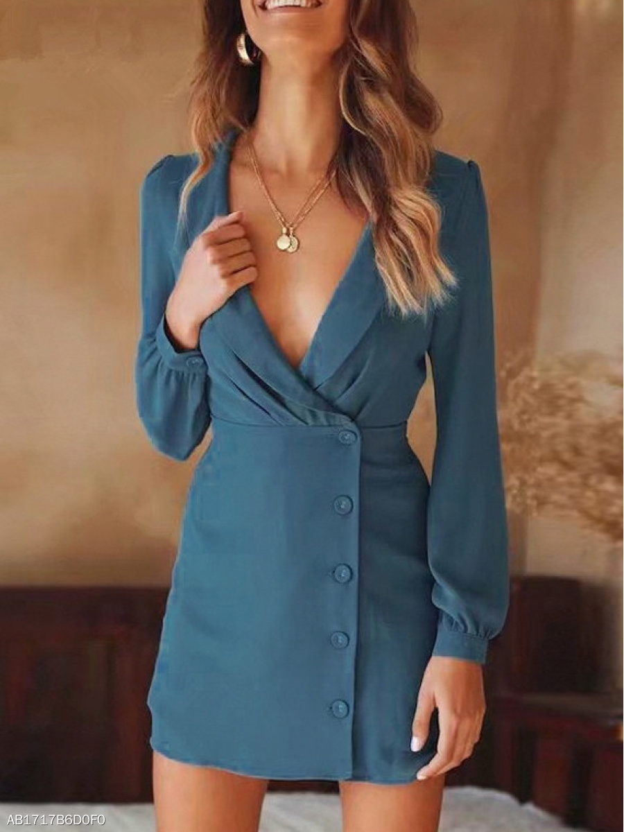 Deep V-Neck  Decorative Button  Plain Bodycon Dress