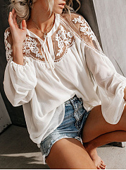 Split Neck  Decorative Lace  Plain  Puff Sleeve  Long Sleeve Blouse