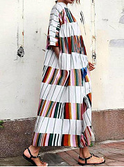 Round Neck  Printed Oversized Casual Maxi Dress