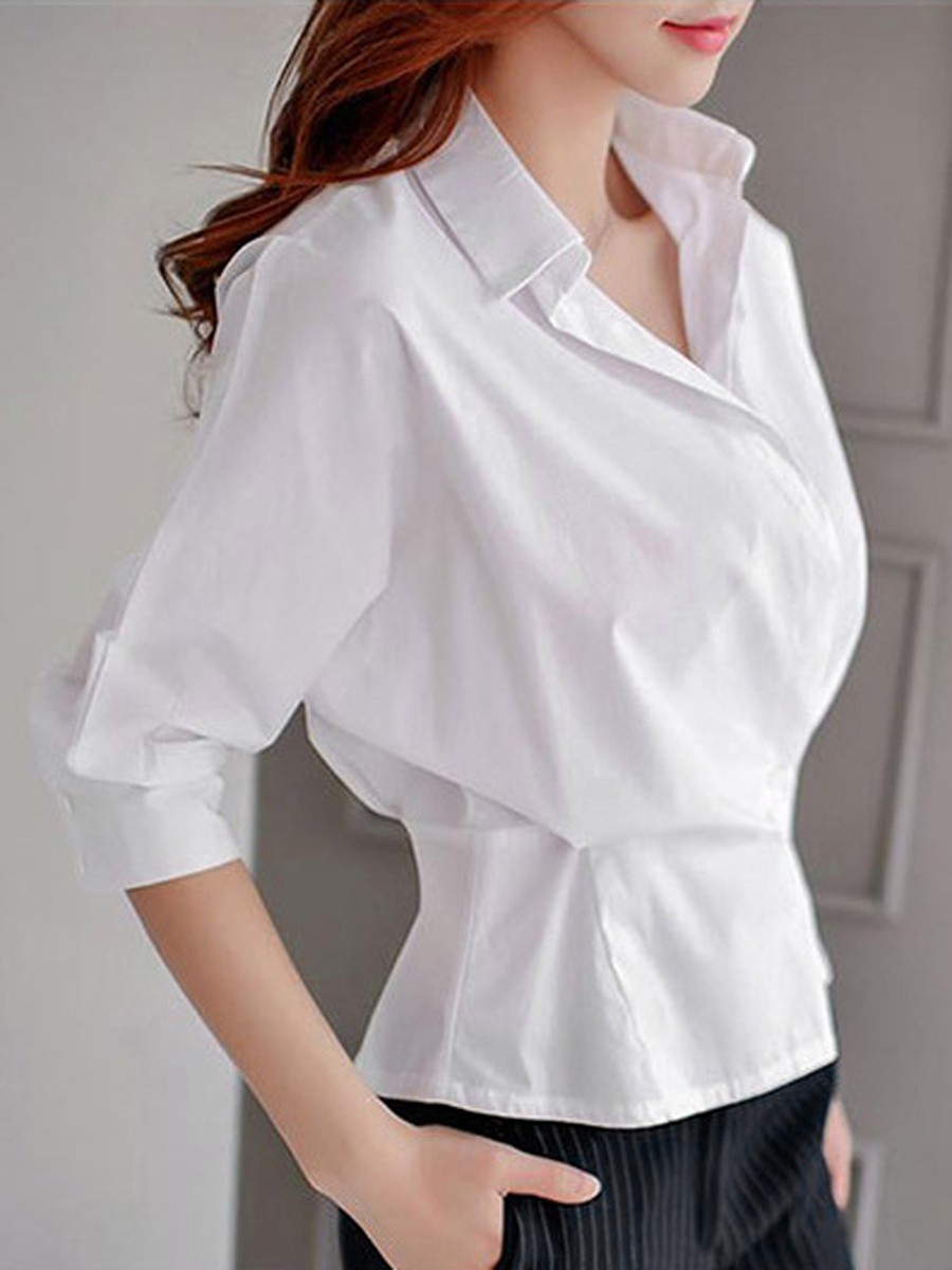 Solid Batwing Sleeve T-Shirt In White