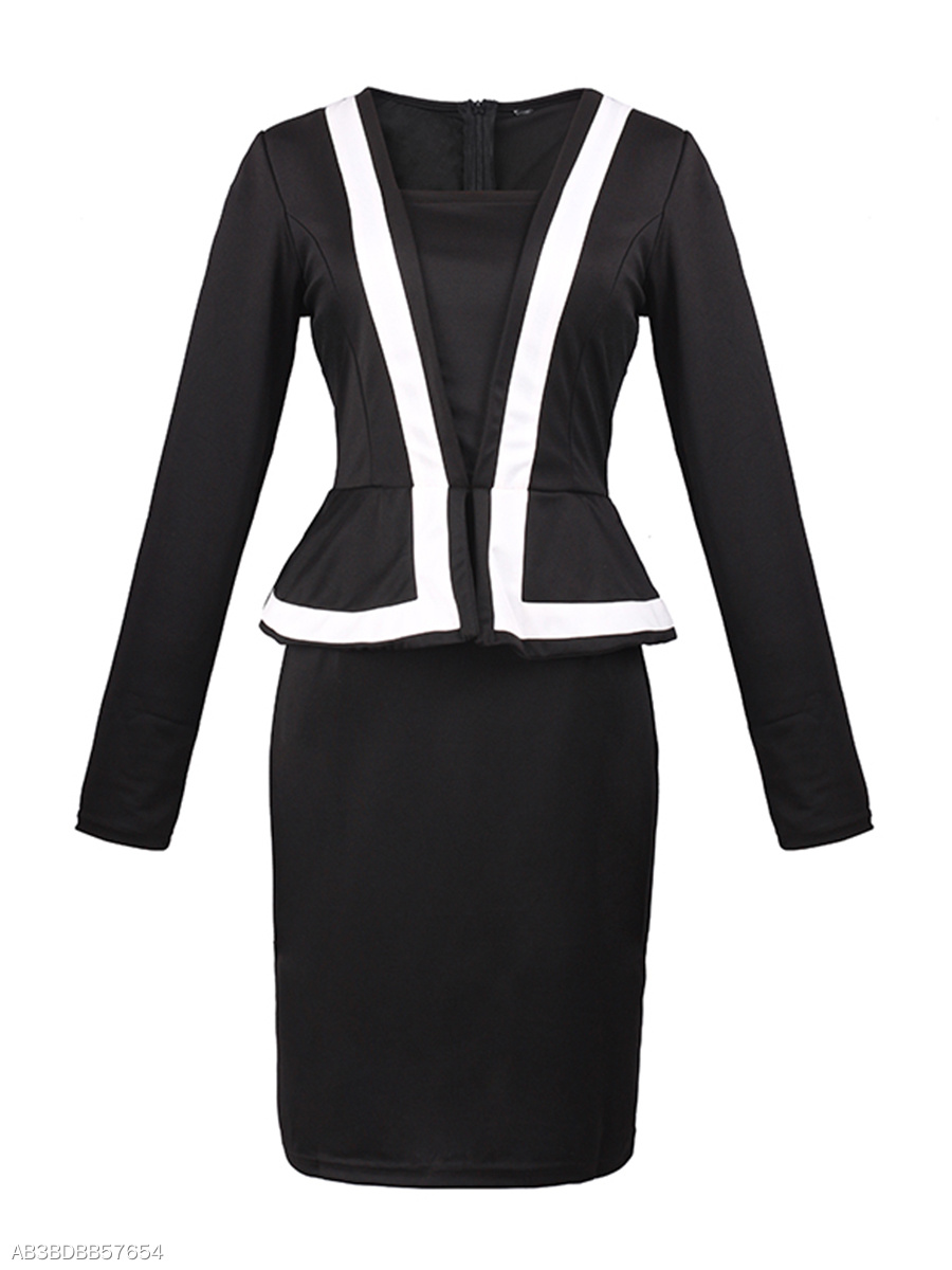 Round Neck  Flounce  Color Block Bodycon Dress