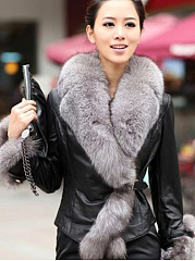 Faux Fur Collar Single Button PU Leather Coat