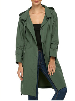 Hooded  Single Breasted  Belt  Plain Trench Coat