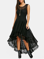 Round Neck  Asymmetric Hem  Plain  Lace Maxi Dress
