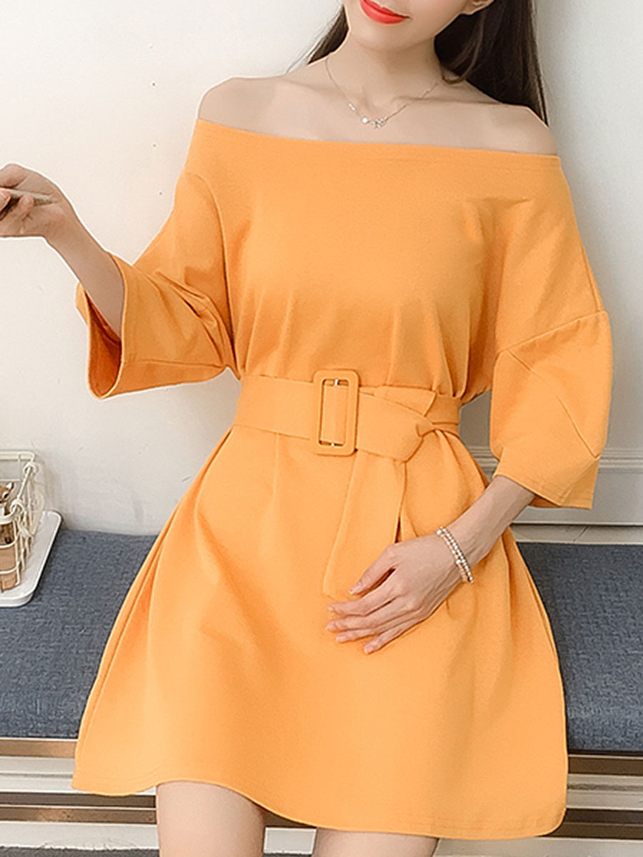 Open Shoulder  Elastic Waist  Belt  Plain Skater Dress