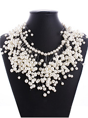 Chic Faux Pearl Beaded Necklace