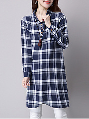 Band Collar  Single Breasted  Checkered Shift Dresses