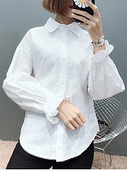 Plain  Petal Sleeve  Long Sleeve Blouses