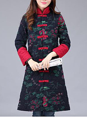 Band Collar  Single Breasted  Printed  Long Sleeve Coats