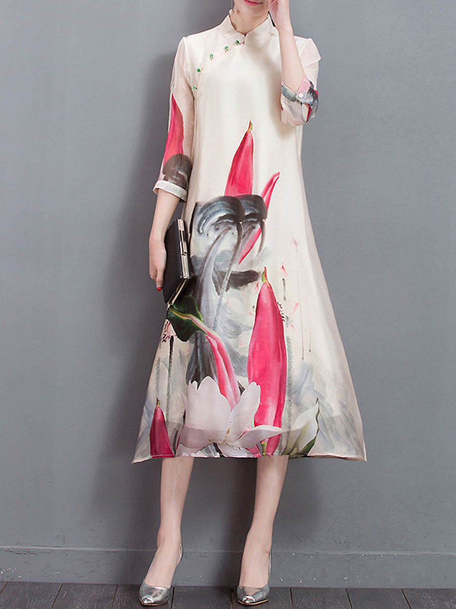 Courtly Band Collar Printed Maxi Dress