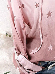 Spring Summer  Cotton  Women  Tie Collar  Printed Star  Long Sleeve Blouses