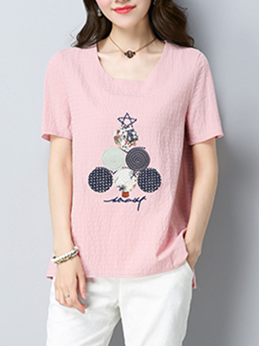Decorative Patch Embroidery Short Sleeve T-Shirt