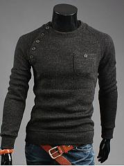 Crew-Neck-Diagonal-Buttons-Plain-Men-Sweater