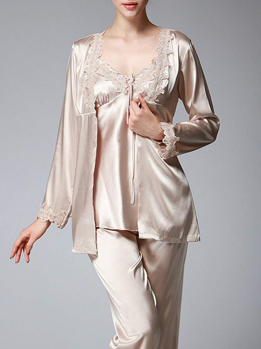 Spaghetti Strap Decorative Lace Straight Three Pieces Pajama Set