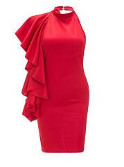 Halter-Flounce-Cascading-Ruffles-Polyester-Evening-Dresses