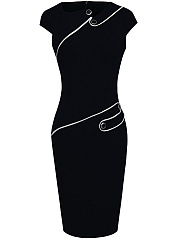 Asymmetric Neck  Plain Bodycon Dress
