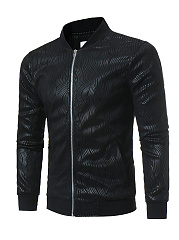Band Collar Printed Pocket  Men Jacket
