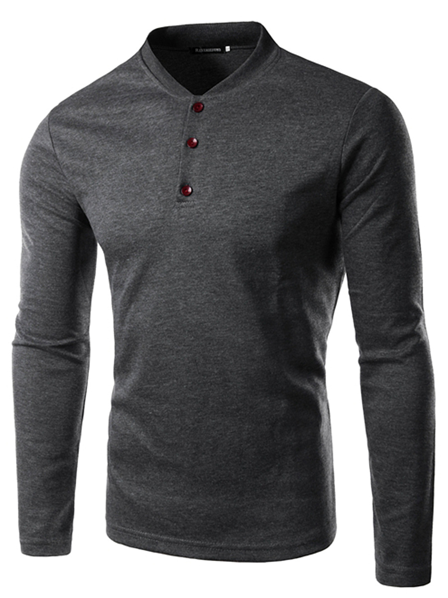 Band Collar  Plain Men Long Sleeve T-Shirt