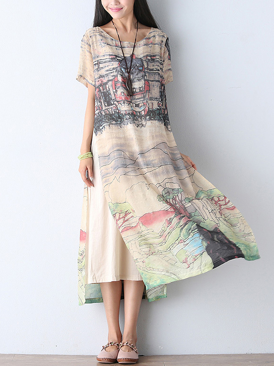 Double Layer Round Neck Printed Loose Maxi Dress