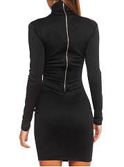 High Neck  Chain  Plain Bodycon Dress