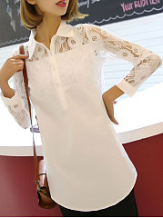 Autumn Spring  Cotton  Women  Turn Down Collar  Asymmetric Hem Decorative Lace  Decorative Button  Plain  Long Sleeve Blouses