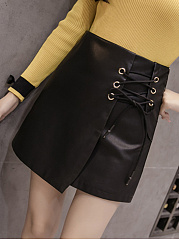Solid PU Leather Lace-Up A-Line Mini Skirt