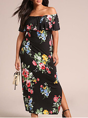 Off Shoulder  Flounce Slit  Floral Printed Plus Size Midi & Maxi Dress