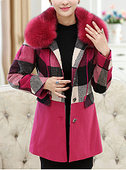 Faux Fur Collar Plaid Single Breasted Woolen Coat