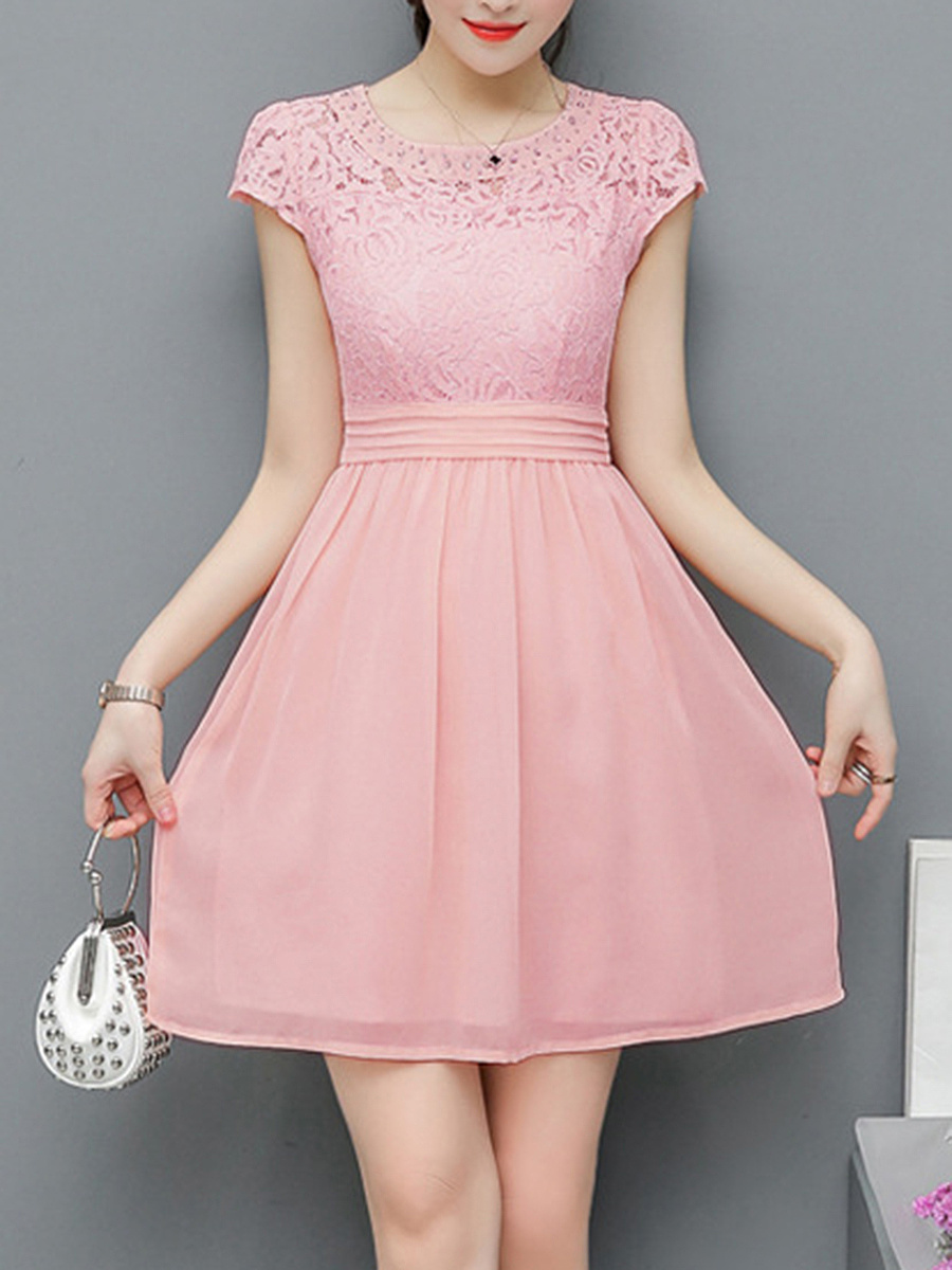 Round Neck Hollow Out Plain Rhinestone Skater Dress