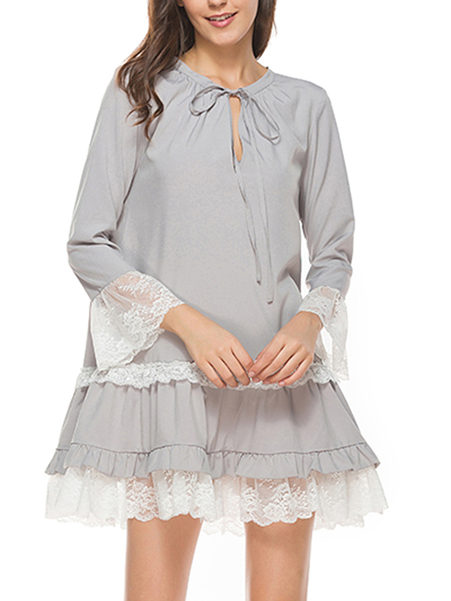 Nifty Tie Collar Decorative Lace Ruffled Hem Shift Dress
