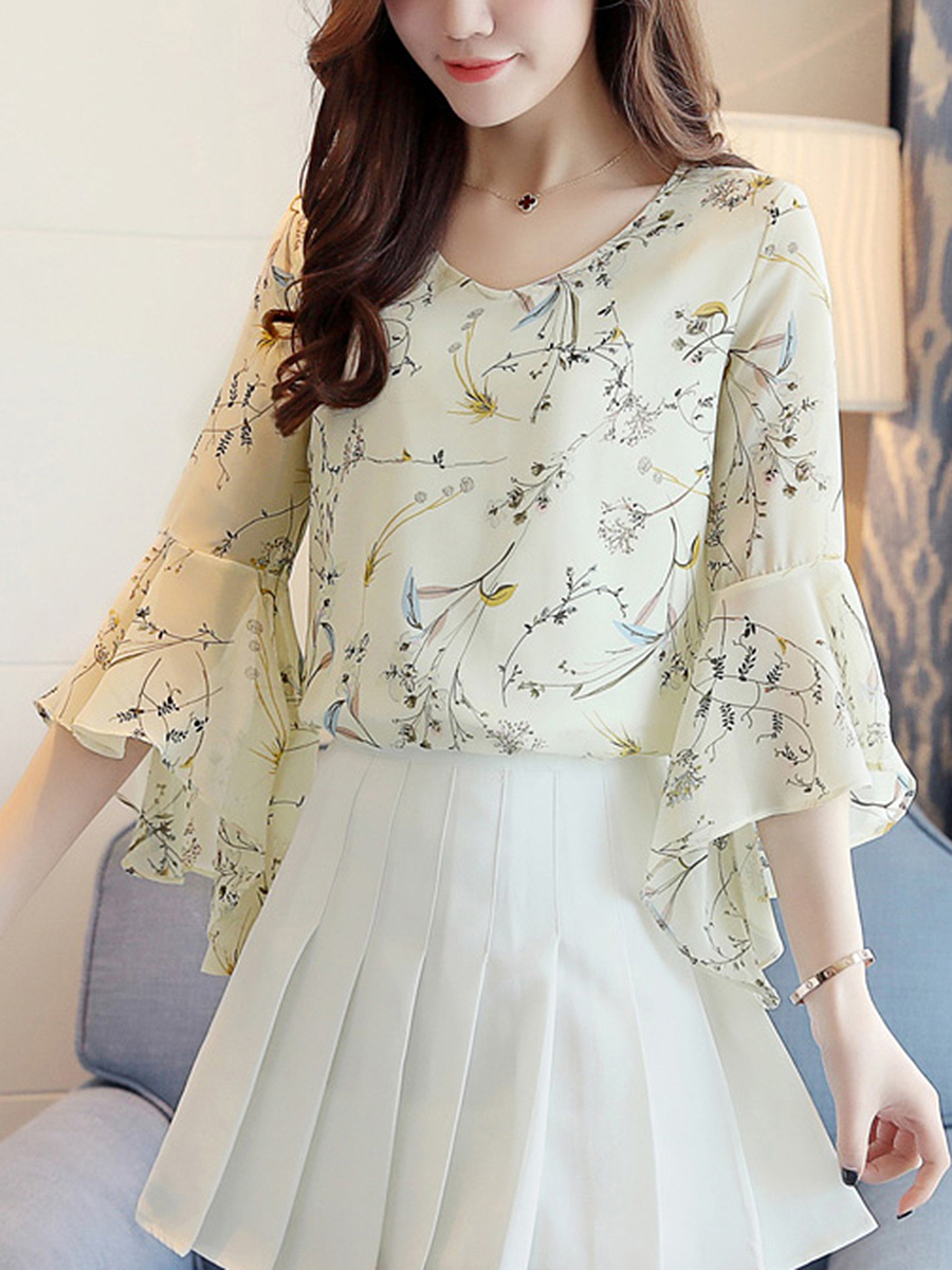 V-Neck  Back Hole  Printed  Bell Sleeve Blouse