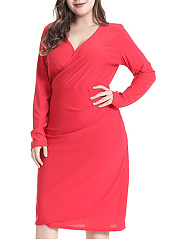 V-Neck  Plain Plus Size Midi  Maxi Dress