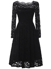 Off Shoulder Lace Hollow Out Plain Skater Dress