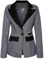 Color-Block-Notch-Lapel-Single-Button-Long-Sleeve-Blazer