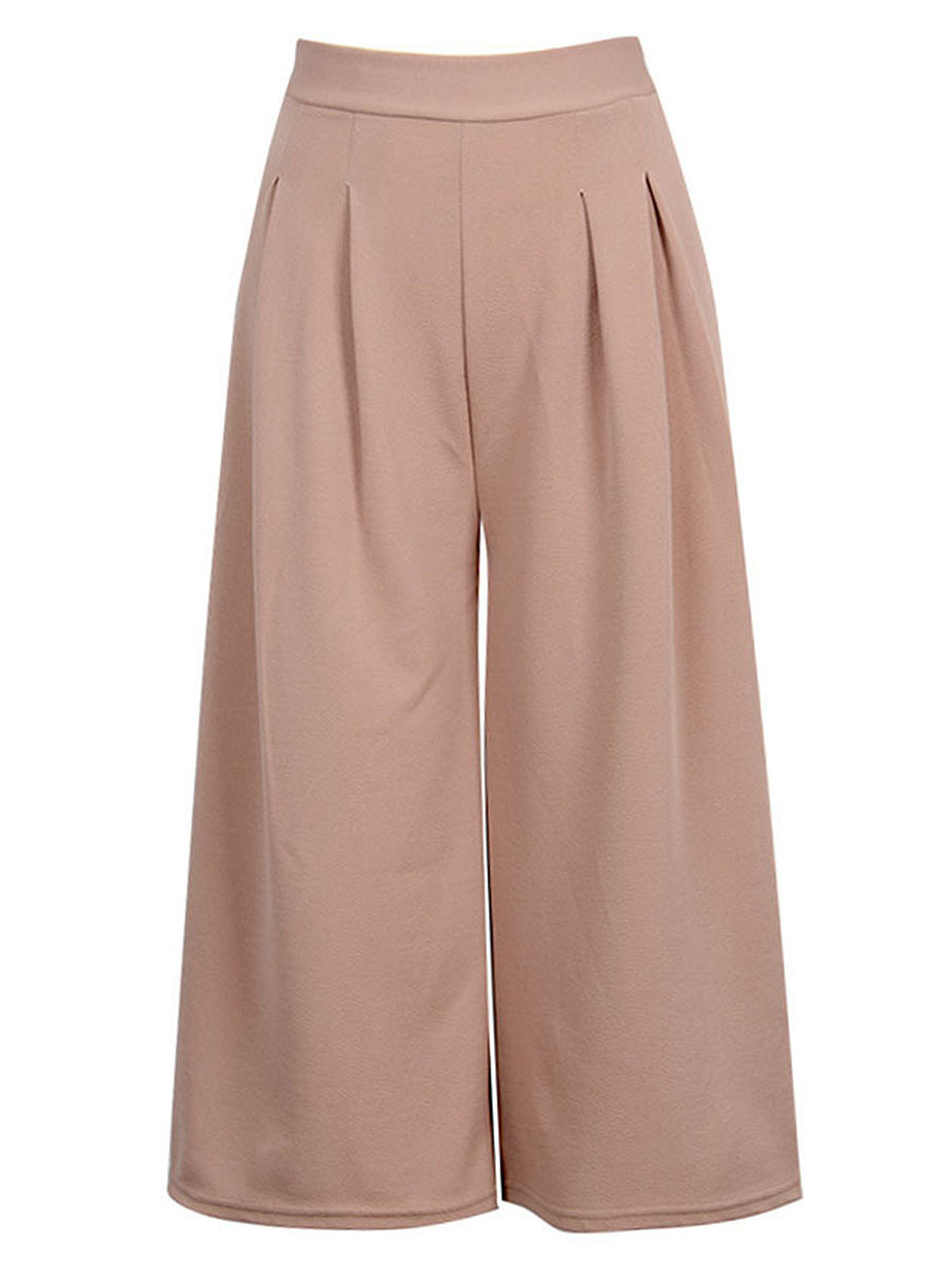 Solid Cropped Wide-Leg Casual Pants