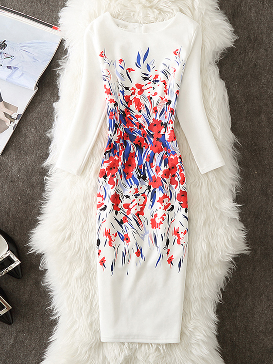 Round Neck Slit Printed Bodycon Dress