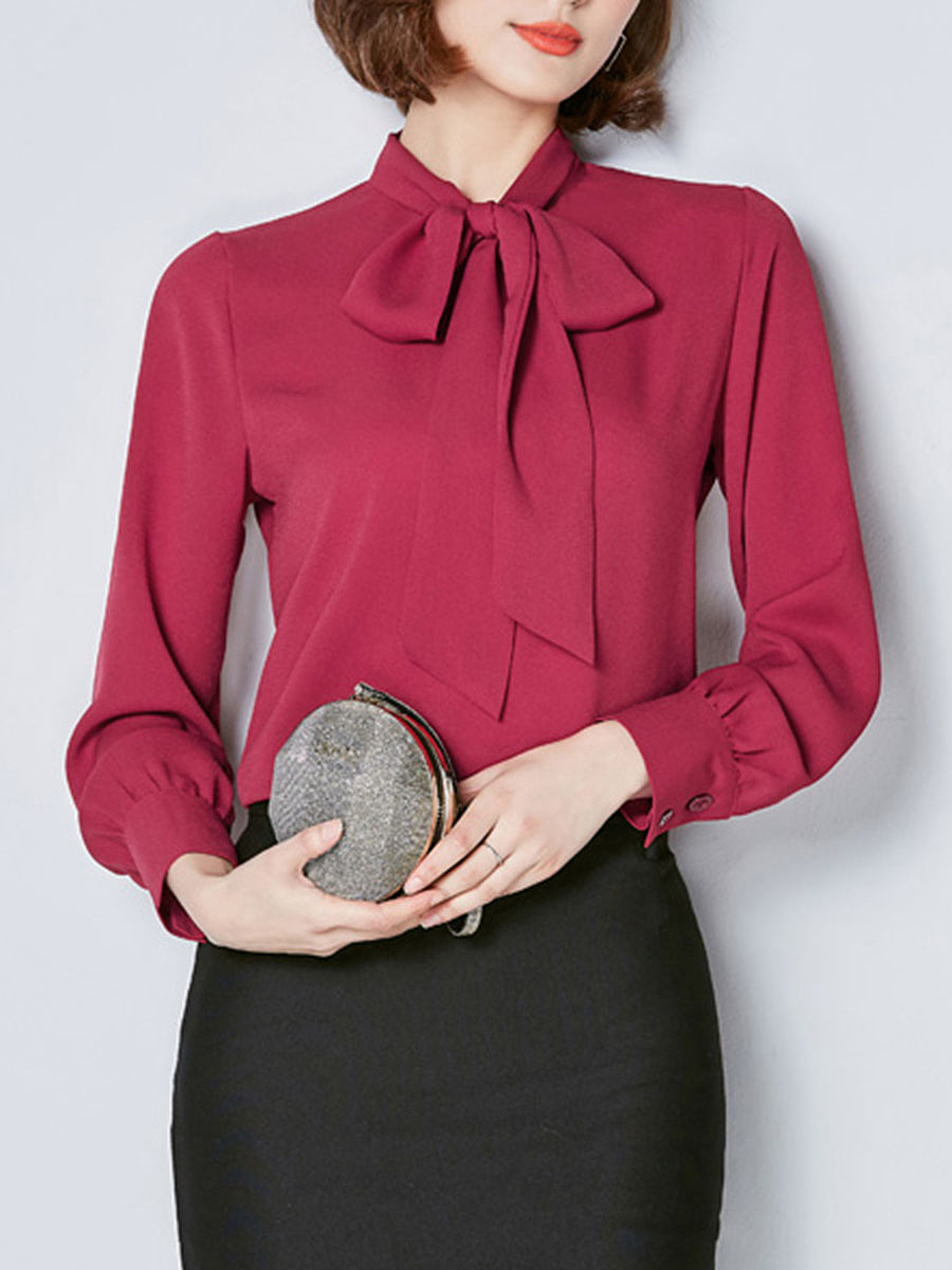 Tie Collar  Bowknot  Plain Blouse