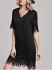 V-Neck  Decorative Lace  Plain Shift Dress
