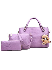 Plain Three Pieces Luxury Women Hand Bags