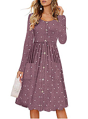 Round Neck  Polka Dot Skater Dress