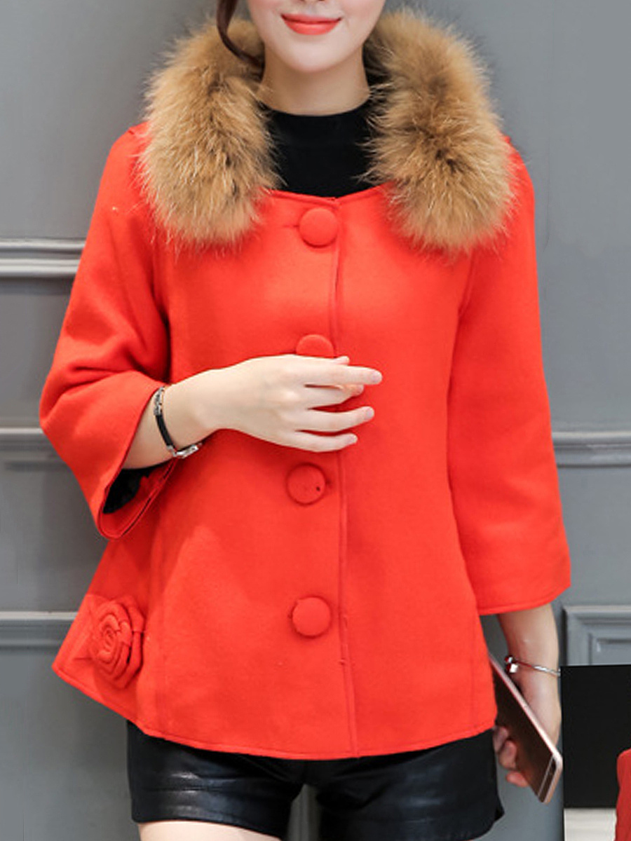 Faux Fur Collar Single Breasted Pocket Woolen Coat