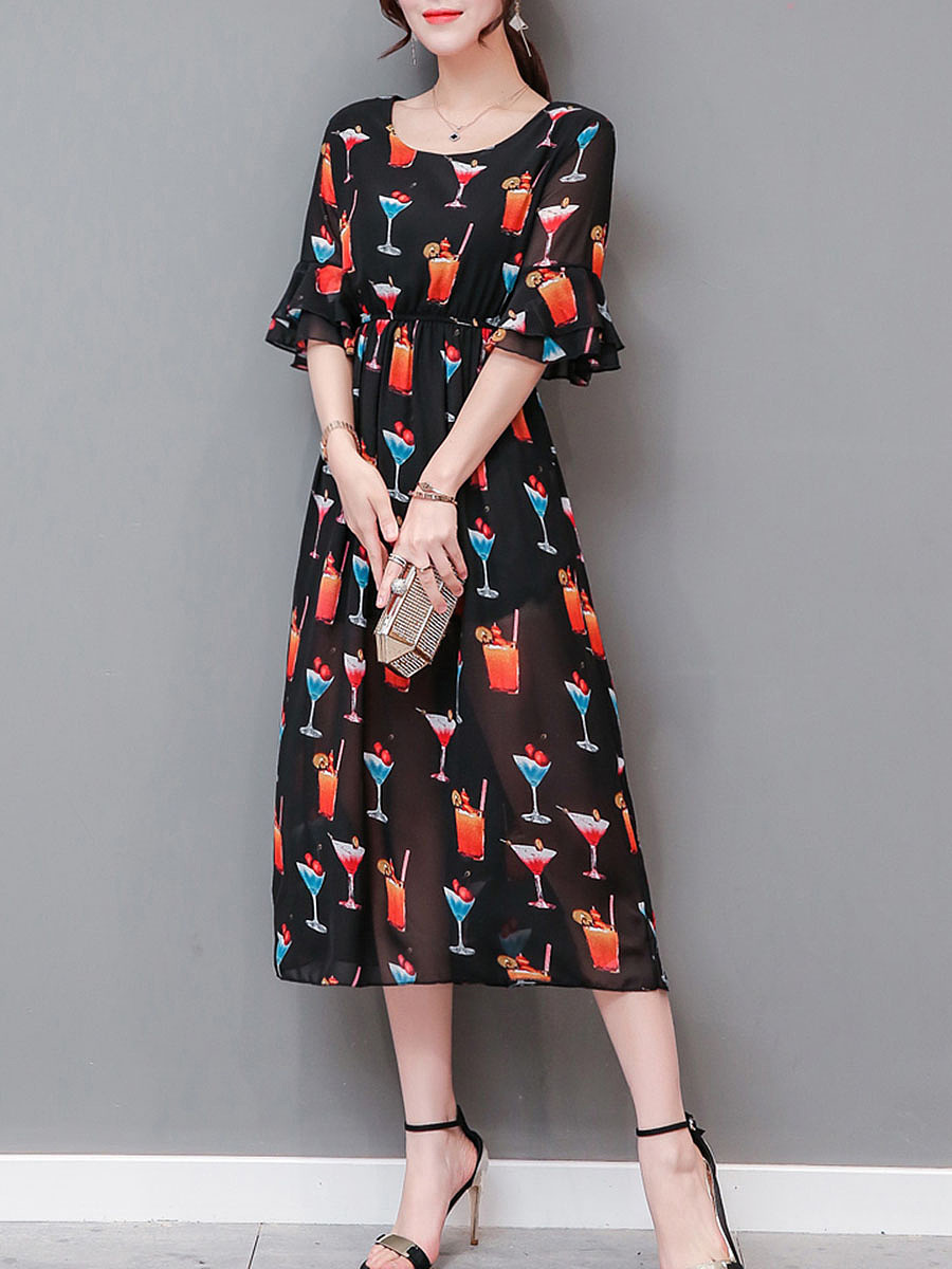 Bell Sleeve Cocktail Printed Hollow Out Chiffon Maxi Dress