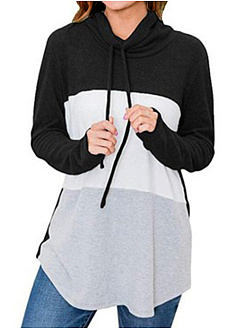 Heap Collar  Patchwork  Casual  Color Block  Long Sleeve  T-Shirt