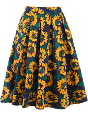 Inverted Pleat Sunflower Printed Flared Midi Skirt